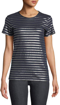 Neiman Marcus Majestic Paris for Striped Metallic Cotton-Cashmere Tee