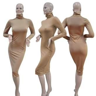 HilldaAline Khaki Sexy Women Clubwear High Collar Long Sleeve Slim Evening Party Dress
