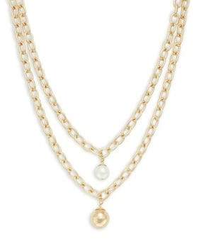 Design Lab Faux-Pearl Chain Necklace