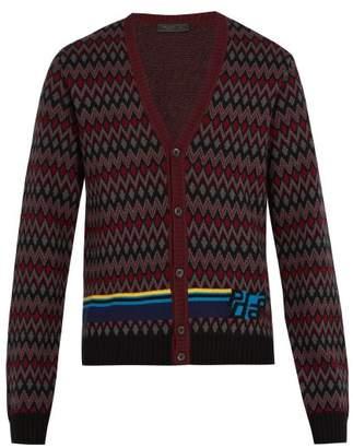 Prada Chevron Jacquard Wool Blend Cardigan - Mens - Black