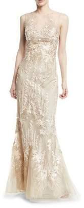 Rickie Freeman For Teri Jon Sleeveless Mesh Illusion Mermaid Gown