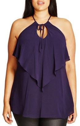 Plus Size Women's City Chic Tie V-Neck Flutter Top $59 thestylecure.com