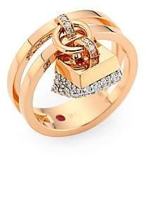 Roberto Coin Women's Sauvage Privé 18K Rose Gold & Diamond Pavé Charm Ring