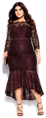 City Chic Citychic Estella Maxi Dress - oxblood