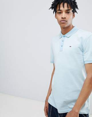 Tommy Jeans Summer Oxford Polo Flag Logo in Light Blue