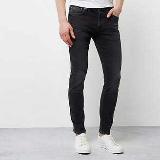 River Island Black faded skinny fit Sid jeans