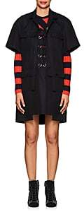 Sacai Women's Lace-Up Cotton Short-Sleeve Trench Dress-Navy