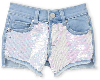 Pinc Premium Girls 7-16) Reverse Sequin Denim Shorts