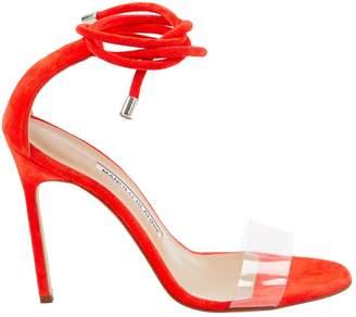 Manolo Blahnik Orange Suede Sandals