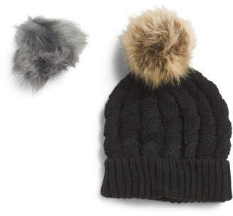 Boxed Cable Beanie With 2 Poms