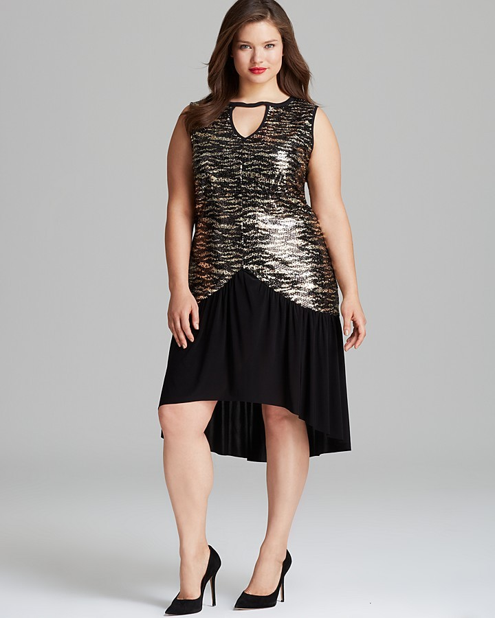 T-Bags Tbags Los Angeles Plus Sleeveless Sequin High/Low Dress