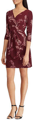 Chaps Ruched Floral Print Dress
