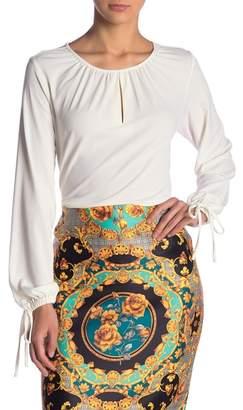 ECI Keyhole Long Sleeve Woven Blouse