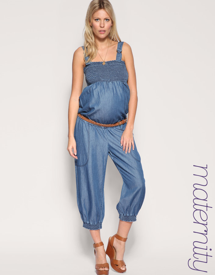 mama·licious Cropped Denim Jumpsuit