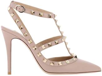 Valentino Garavani Pumps Rockstud Ankle Strap In Smooth Leather With Metal Studs