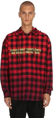 Juun.J Detachable Hooded Checked Cotton Shirt