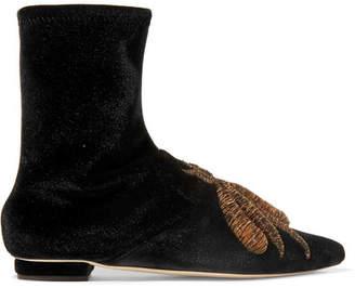 Sanayi 313 - Ragno Embroidered Stretch-velvet Ankle Boots - Black