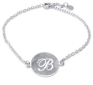 SILVER TREASURES Silver Treasures Letter B Pure Silver Over Brass 7 Inch Cable Link Bracelet
