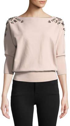 Milly Jewel Embellished Dolman Sweater