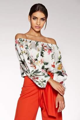 df595963491c28 Quiz White Satin Floral Print Bardot Bodysuit
