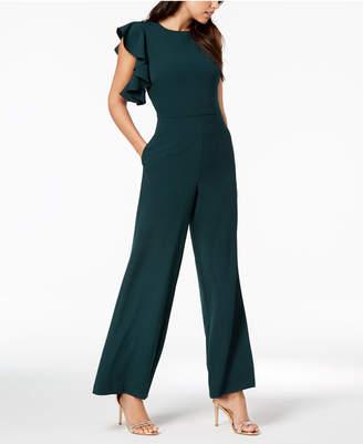 Julia Jordan Asymmetrical Flutter-Sleeve Jumpsuit