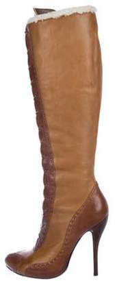Alexander McQueen Leather Lace-Up Boots brown Leather Lace-Up Boots