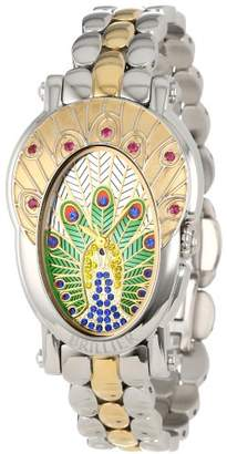 Brillier Women's 18-06 Royal Plume Peacock Inspired Swiss Genuine Red Rubies Watch
