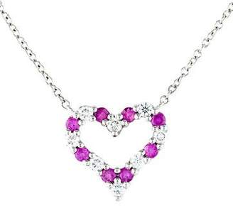 Tiffany & Co. Platinum Diamond & Pink Sapphire Heart Pendant Necklace