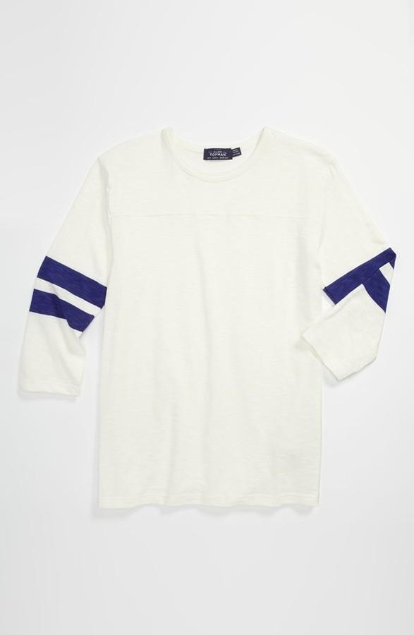 Topman 'Varsity Jersey' Three Quarter Sleeve T-Shirt