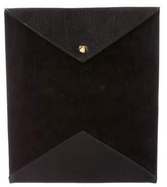 Eddie Borgo Suede Leather-Trimmed Flap Clutch