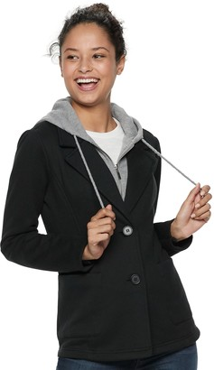 Juniors' Sebby Fleece Hooded Blazer