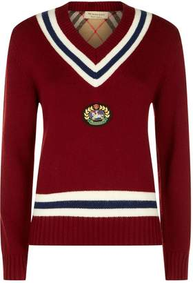 Burberry Logo Crest V-Neck Sweater