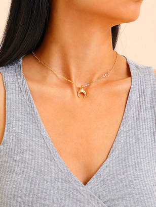 Shein Moon Pendant Chain Necklace & Earrings 3pcs