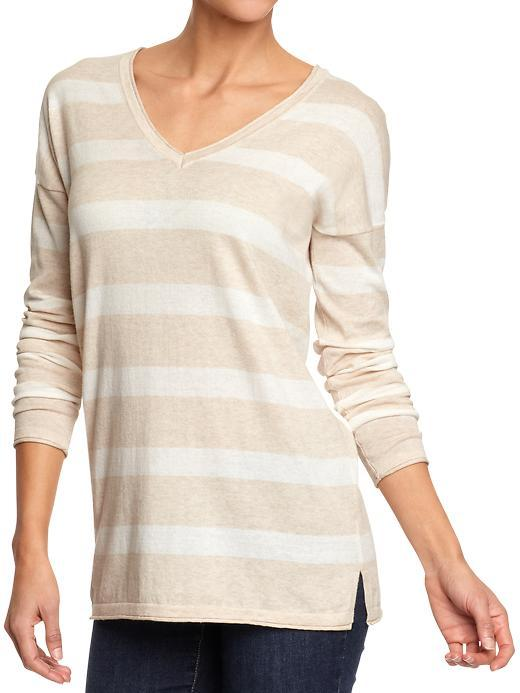 Old Navy Women's Striped V-Neck Tunic Sweaters