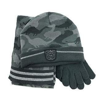 accsa Winter Kids Boy Camo Knitted Beanie Magic glove Scarf 3pc set for 3-6 years old child