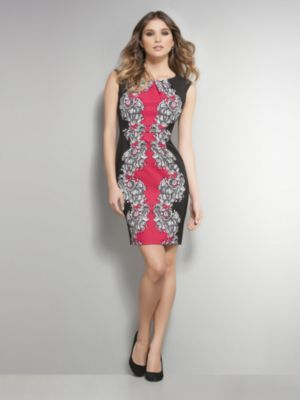 Printed Pleat-Front Dress