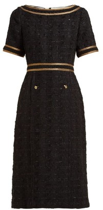 Gucci Ribbon Trimmed Embroidered Tweed Dress - Womens - Black