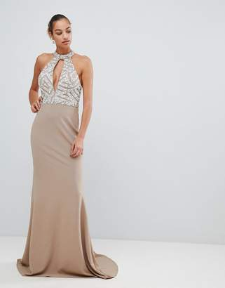 Forever Unique embellished keyhole neck maxi dress
