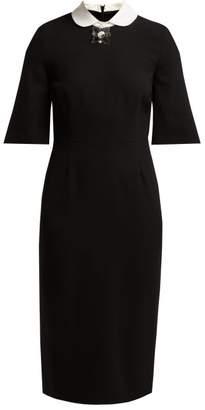 Goat Hamlet Wool Crepe Dress - Womens - Black Multi