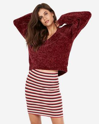 Express Striped Ribbed Mini Skirt