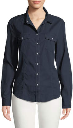 Few Moda Pearly Snap-Front Denim Pocket Blouse