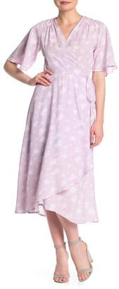 Bobeau Orna Patterned Wrap Dress (Regular & Petite)