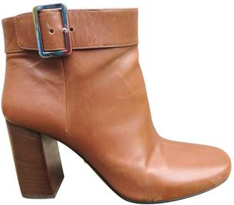 Prada Camel Leather Ankle boots