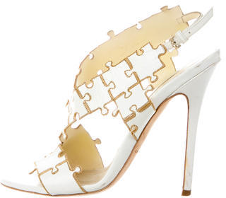 Brian Atwood Chain-Link Leather Sandals $155 thestylecure.com
