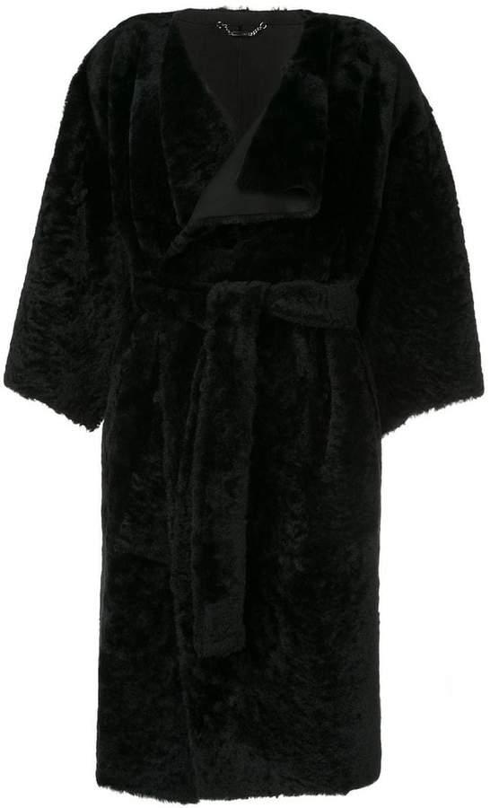 Fendi oversized sleeve wrap coat