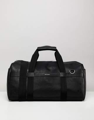 Asos Design DESIGN Holdall In Faux Leather In Black With Silver Emboss