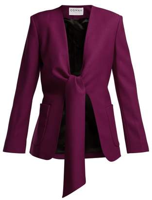Osman Spencer Single Breasted Tie Front Wool Jacket - Womens - Dark Pink