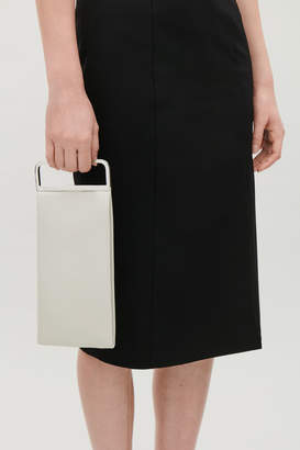 Cos METAL-HANDLE LEATHER CLUTCH