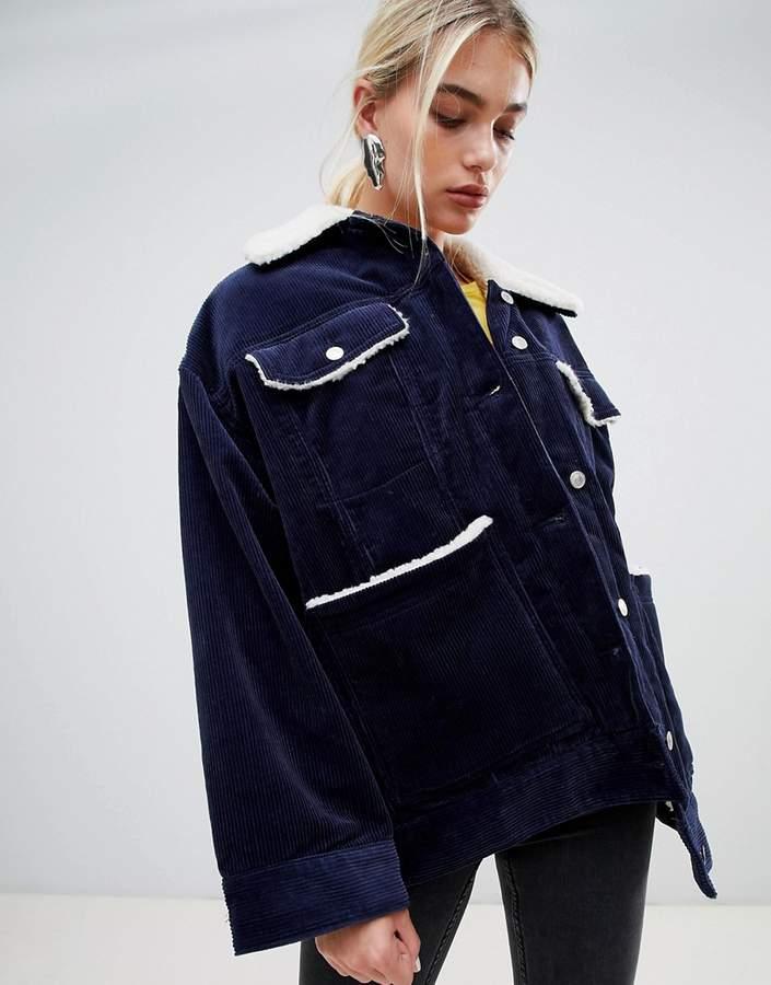 cord teddy jacket in navy
