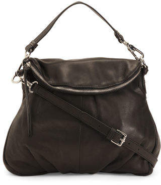 Zippered Flap Large Leather Crossbody